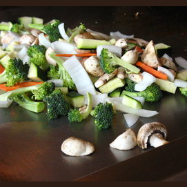 Mixed vegetables and mushrooms of a questionable nature