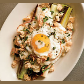 Braised Leeks with Mozzarella & a Fried Egg