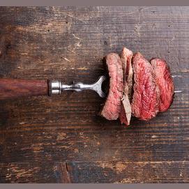 A juicy steak