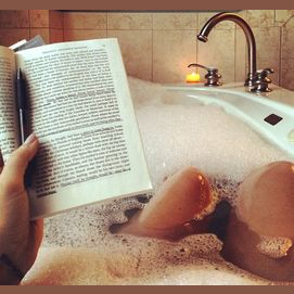 A good book, a glass of wine, and a warm bubble bath