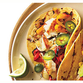 Grilled Tilapia, Peppers, and Onions Tacos