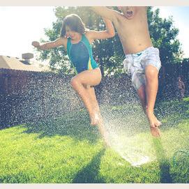 Running through a sprinkler