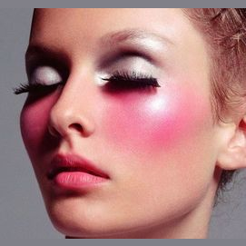 Pink blush and nude lips