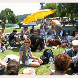 Having a picnic with friends at the coolest festival