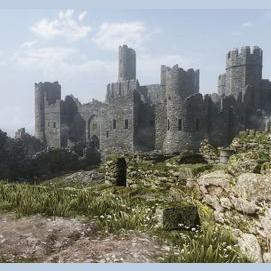A castle on a battle field