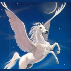 A silver bow and arrow along with a flying white horse.