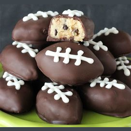 Chocolate-covered cookie dough footballs