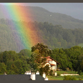 House with Magical Rainbow