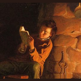 Reading by the fireside.
