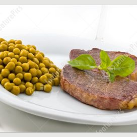 Meat and peas