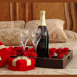 Expensive wine and roses