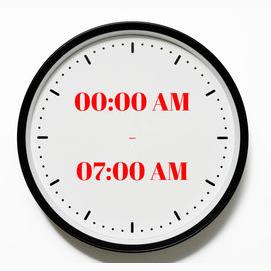 00:00 AM  - 07:00 AM
