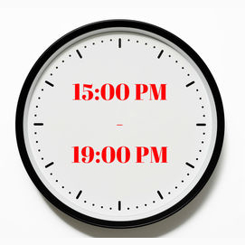 15:00 PM - 19:00 PM
