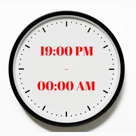 19:00 PM - 00:00 AM