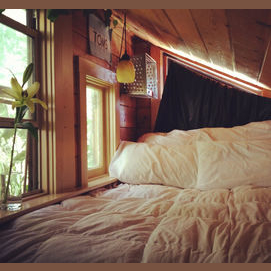 Rustic and comfortable, preferably with a scenic view.