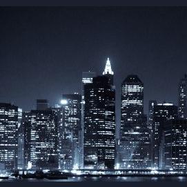 Bright lights and skyline