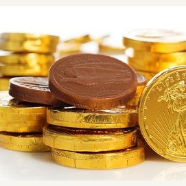 Chocolate golden coins