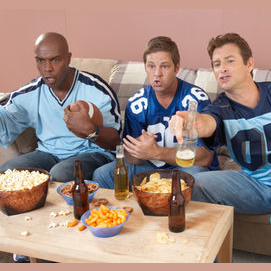 Watch a football game on TV with my friends
