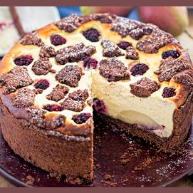 Pear Blackberry Cheesecake