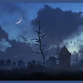 a cemetery or other dark secluded place