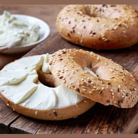 A bagel and cream cheese