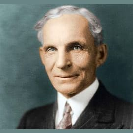 Henry Ford, American industrialist, the founder of the Ford Motor Company, and sponsor of the development of the assembly line technique of mass production