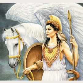 Athena (goddess of intelligence, peace, and battle strategy)