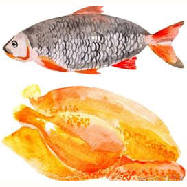 Chicken and fish, but no red meat