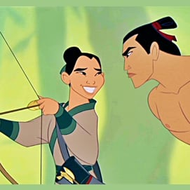 Mulan and Shang, their personalities are somewhat similar, making them compliment one another