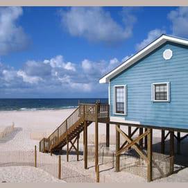 Summer house on the beach.
