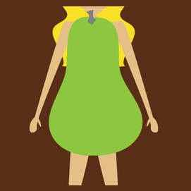 Pear: Wide hips, narrower shoulders and a small bust