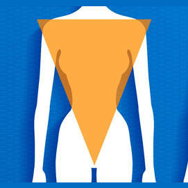 Inverted Triangle: Broad shoulders, big bust, narrow hips