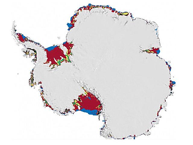 En rojo se destacan las áreas de las plataformas de hielo vulnerables a la hidrofracturación.