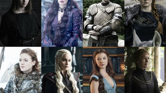 Daenerys Targaryen, Sansa Stark, Arya Stark, Cersei Lannister, Margaery Tyrell, Melisandre, Ygritte, Brienne of Tarth