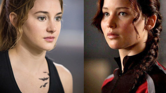 """Jennifer Lawrence from the """"Hunger Games"""" Shailene Woodley from """"Divergent"""""""