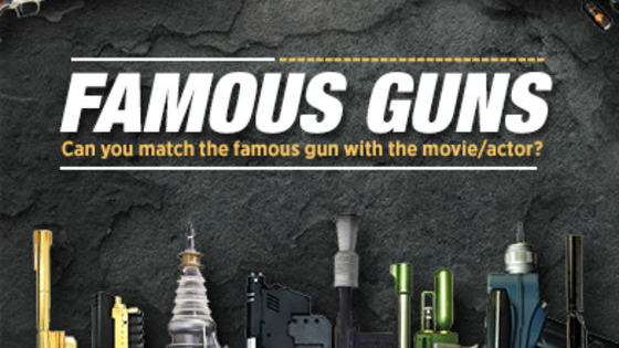 "There is something special about the way filmmakers and writers use firearms in their movies. Some old, some new, and some even imaginative but they never lack flare. We have created a quiz to see just how well you know these famous firearms. The images are from Federico Mauro's project ""Famous Guns: A collection of guns used by classic film characters"". Share your results on our Cannon Facebook page!"