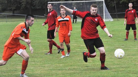 Rye Town versus The JC Tackleway football action - the first football match to be played in Rye for two-and-a-half years.