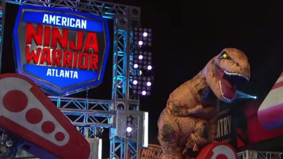 Watch this T-Rex CONQUER the American Ninja Warrior obstacle course!