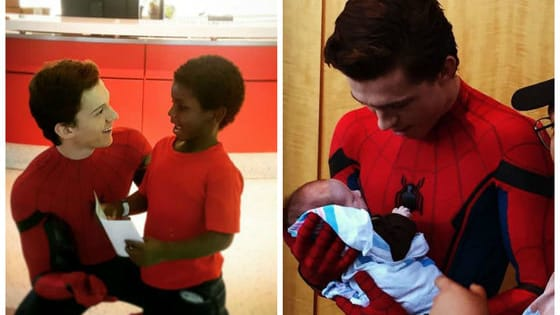 Tom Holland, who will play Spider-Man in the new movie, just made a lot of sick kids really happy, and there are lots of pictures of the encounter!
