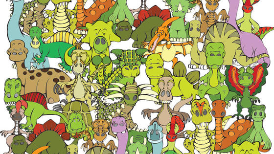 There is a turtle hiding in this group of dinosaurs. Can you find it in 10 seconds or less. Have Fun!!! (Click to reveal the complete image.)