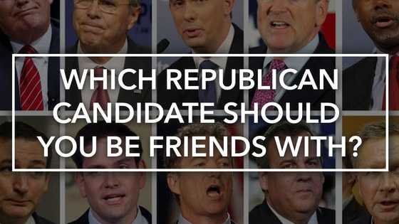 With the primaries in full swing, there's one question on your mind: if I were to befriend one of the Republican presidential candidates, which one would it be? We have the answers you need--now you can get cozy with pizza, Netflix, and your new BFF!