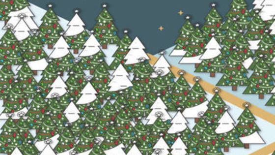 There's a clever elf hiding in these trees. Are you clever enough to spot him?