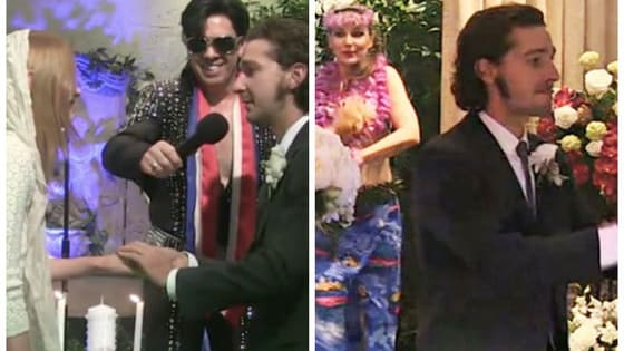 Shia LaBeouf tied the knot yesterday in the classic Vegas elopement style, complete with an Elvis Impersonator to officiate! Would you want a crazy Vegas wedding like Shia LaBeouf's?