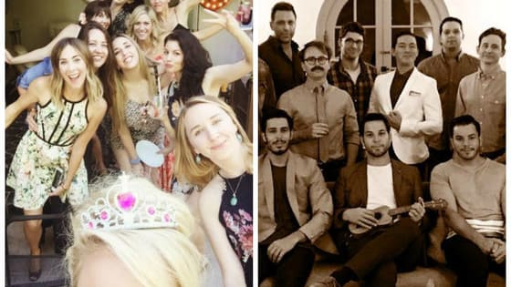 Anna Camp and Skylar Astin, stars of the hit comedy Pitch Perfect, announced their engagement earlier this year, and now they've pitch-slapped all of us in the face with their cuteness at joint bachelor/bachelorette party. Because romance doesn't take a day off, apparently.