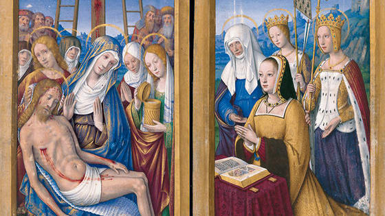 The Great Hours of Anne of Brittany (created between 1503 and 1508 in Tours, France) is undoubtedly a masterpiece of French painting, as is fitting for a manuscript intended for someone who was twice queen of France: with Charles VIII and then Louis XII. The manuscript was created by Jean Bourdichon, whose paintings clearly contributed to the Gothic to Renaissance evolution. Our thanks to M. Moleiro Editor for these images - see more about this manuscript from their website http://www.moleiro.com/