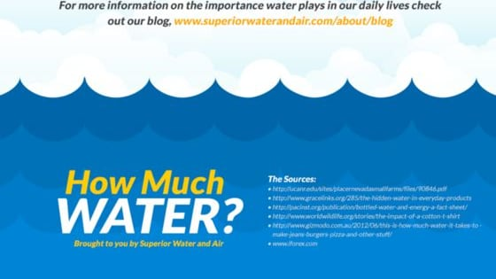 Your water footprint is much larger than you think. Are you a water spender? Check out these eye-opening comparisons and find out just how much water it takes to create the simple things we enjoy daily. This study and animated graphics were brought to you by Superior Water and Air.
