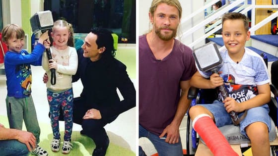 Chris Hemsworth and Tom Hiddleston took some time off of filming the final film in Marvel's Thor trilogy to visit some sick kids who definitely showed them what real heroism is all about.