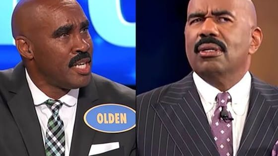 Steve-Harvey-ception on a Family Feud stage.