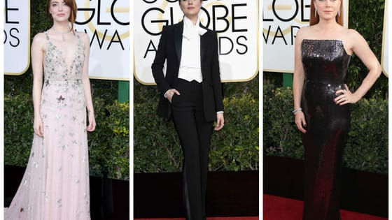 The 2017 Golden Globes brought us some AMAZING red carpet outfits, including everything from plunging necklines to a daring suit from Evan Rachel Wood. Swipe right on your favorite Golden Globes looks!