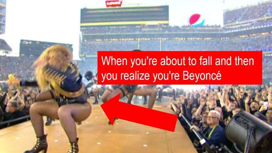 Including Beyonce's almost fall.